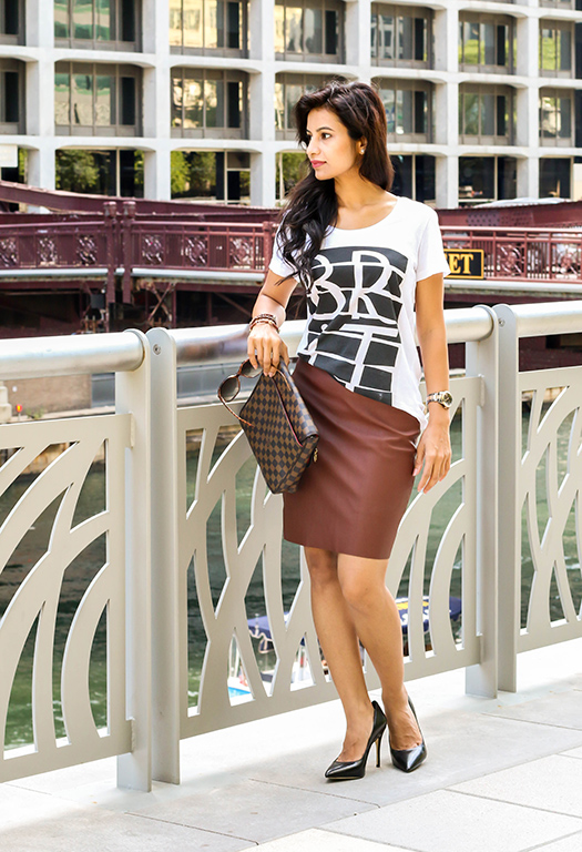Burberry Brit and Leather pencil skirt!