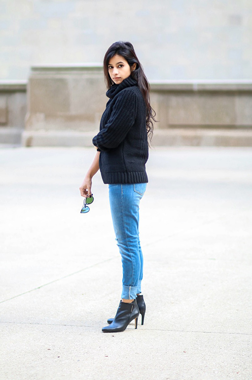 Distressed Jeans and Turtleneck