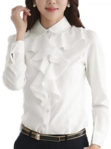 Women OL Formal Blouse Long Sleeve Button Lapel Collar Solid Shirt $10.01