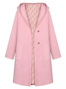 Casual Sweet Slim Bobble Button Hood Long Woolen Coat $47.55
