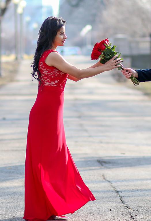 Valentine Day look Red dress