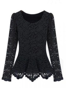 Casual Long Sleeve Lace Hollow Blouse Slim Elegant Shirt $12.90