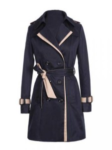 Women Long Sleeve Lapel Double Breasted Trench Coat With Belt $21.19